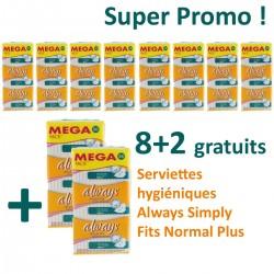 Always - Maxi Pack de 360 Serviettes hygiéniques Simply Fits - 10 Packs de 36 Serviettes hygiéniques taille normal plus sur Le roi de la couche