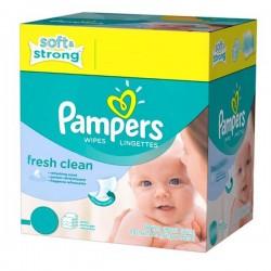 Pampers - Maxi Pack de 384 Lingettes Bébés Fresh Clean - 6 Packs de 64 sur Le roi de la couche