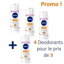 Nivea - Pack 4 Deodorants Stress Protect - 4 au prix de 3 taille Pocket sur Le roi de la couche