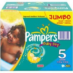 Pampers - Giga pack 207 Couches Baby Dry taille 5 sur Le roi de la couche