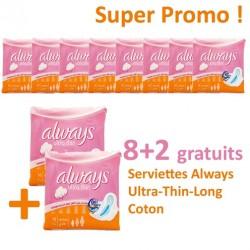 Always - Maxi Pack 80 Serviettes hygiéniques Ultra Thin - 10 Packs de 8 Serviettes hygiéniques taille Long sur Le roi de la couche