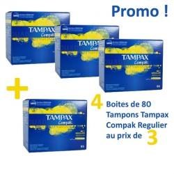Tampax - Pack économique de 320 Tampons Compak - 4 au prix de 3 taille regular avec applicateur sur Le roi de la couche