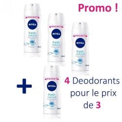 Nivea - Maxi Pack 4 Deodorants Fresh Natural - 4 au prix de 3 taille Pocket sur Le roi de la couche