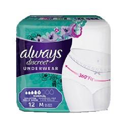 Pack 12 culottes incontinence ALWAYS DISCREET Normal sur Le roi de la couche