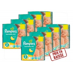 Pampers - Maxi Mega pack 408 Couches New Baby Dry 2 sur Le roi de la couche