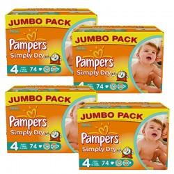 Pampers - Pack économique 294 Couches Simply Dry 4 sur Le roi de la couche