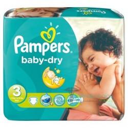 Pampers - Pack 34 Couches Baby Dry taille 3 sur Le roi de la couche