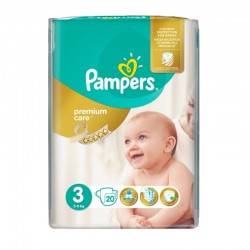 Pampers Pack 20 Couches Premium Care Prima taille 3 sur Le roi de la couche