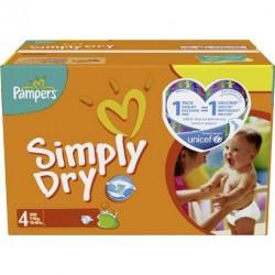 Pampers - Pack économique 220 Couches Simply Dry taille 4 sur Le roi de la couche