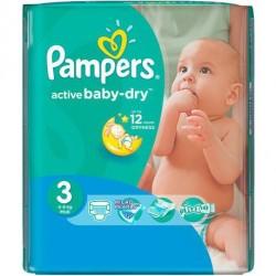 Pampers - Pack 82 Couches Active Baby Dry taille 3 sur Le roi de la couche