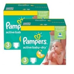Pampers - Pack jumeaux 574 Couches Active Baby Dry taille 3