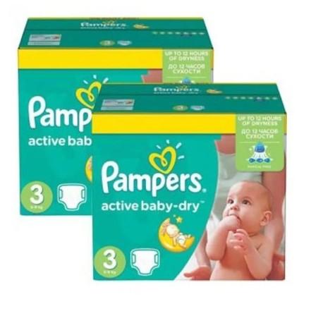 Pampers - Pack jumeaux 574 Couches Active Baby Dry taille 3 sur Le roi de la couche