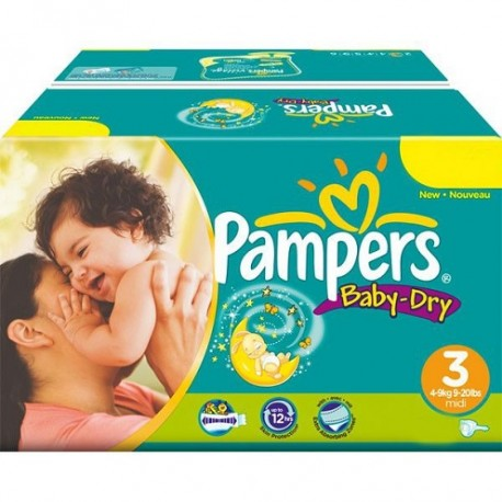 Pampers - Pack jumeaux 580 Couches Baby Dry taille 3 sur Le roi de la couche