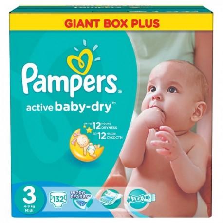 Pampers - Pack 45 Couches Active Baby Dry taille 3 sur Le roi de la couche