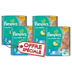 Pampers - Giga pack 210 Couches Active Baby Dry taille 3 sur Le roi de la couche