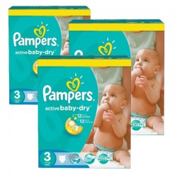 Pampers - Giga pack 285 Couches Active Baby Dry taille 3