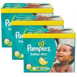 Pampers - Pack jumeaux 504 Couches Baby Dry taille 5+