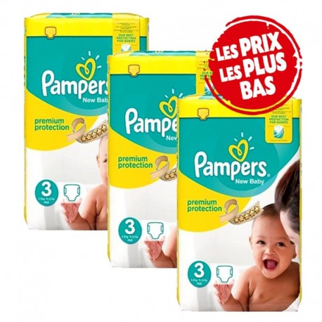 Pampers - Giga pack 260 Couches New Baby Premium Protection taille 3 sur Le roi de la couche