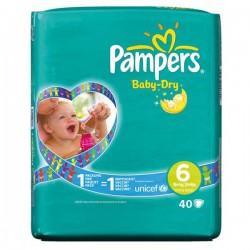 Pampers - Pack 19 Couches Baby Dry taille 6 sur Le roi de la couche