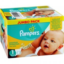 Pampers - Giga pack 286 Couches Premium Protection taille 1