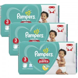 Pampers - Mega pack 190 Couches Baby Dry Pants taille 3
