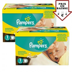 Pampers - Pack jumeaux 728 Couches Premium Protection taille 1