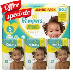 Pampers - Giga pack 204 Couches Premium Protection taille 5