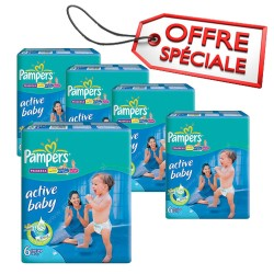 Pampers - Maxi giga pack 336 Couches Active Baby Dry taille 6