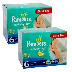 Pampers - Maxi giga pack 384 Couches Active Baby Dry taille 6