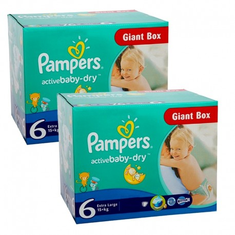 Pampers - Maxi giga pack 384 Couches Active Baby Dry taille 6 sur Le roi de la couche