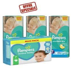 Pampers - Mega pack 132 Couches Active Baby Dry taille 7 sur Le roi de la couche