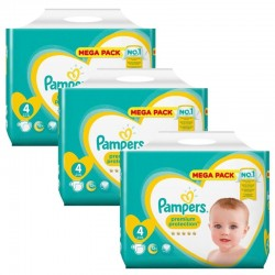 Pampers - Maxi giga pack 384 Couches Premium Protection taille 4