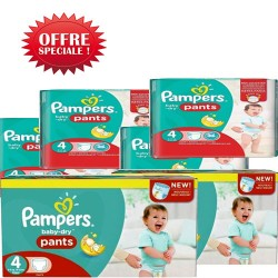 Pampers - Maxi giga pack 300 Couches Baby Dry Pants taille 4