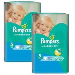 Pampers - Maxi giga pack 330 Couches Active Baby Dry taille 5