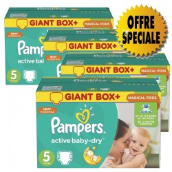 Pampers - Pack jumeaux 572 Couches Active Baby Dry taille 5