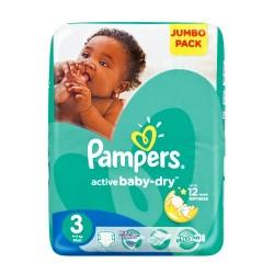 Pampers - Pack 68 Couches Active Baby Dry taille 3 sur Le roi de la couche