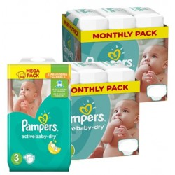 Pampers - Giga pack 204 Couches Active Baby Dry taille 3