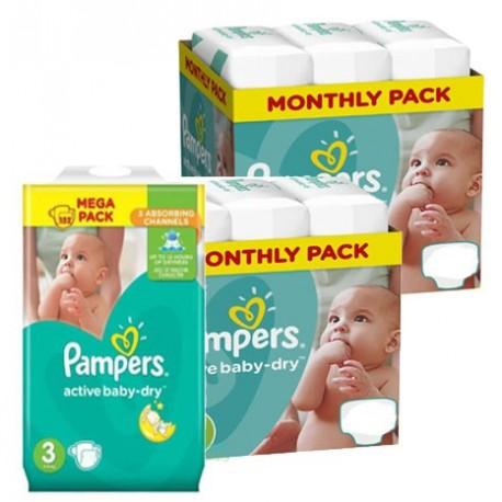 Pampers - Maxi mega pack 408 Couches Active Baby Dry taille 3 sur Le roi de la couche