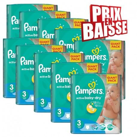 Pampers - Maxi mega pack 476 Couches Active Baby Dry taille 3 sur Le roi de la couche